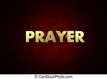 Prayer Concept Metal letter press word in red background