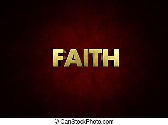 Faith Concept Metal letter press word in red background