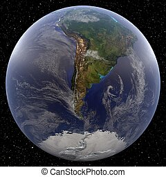 South Pole (Argentina) - Earth from Space - Earth focused on...