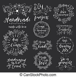 Handmade, arts and crafts. Insignias logotypes, badges, stickers, stamps, icons, frames, card design set. White monograms on black background. Doodle vector vintage elements.