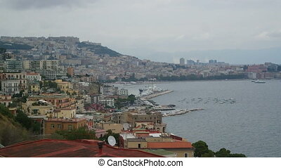 Bay of Naples in the autumn overcast day, buy and port view