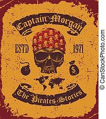 skull with bandana - Pirate skull with bandana vector...