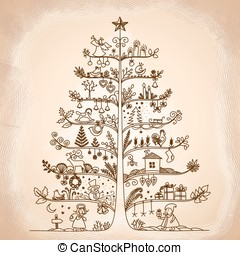 Cute vector illustration of a Christmas tree in retro style.