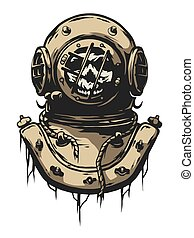 Old iron diving helmet. Vector illustration