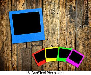 photo frame on wood background