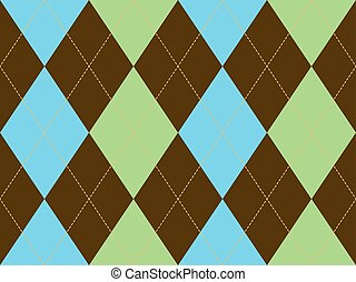 Brown green argyle seamless pattern
