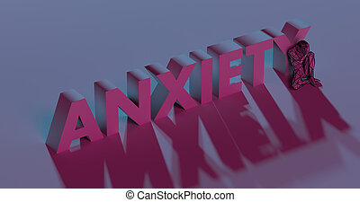 Anxiety - red lettering text near sad man, 3d render