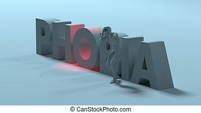 Phobia - 3d render text sign, near panicked afraid man, illustration