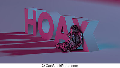 Hoax - 3d render lettering near low poly man illustration