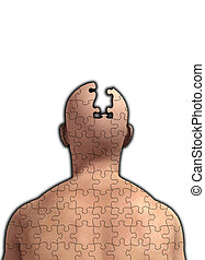 Missing Piece Of Mind - Concept image about memory loss and...