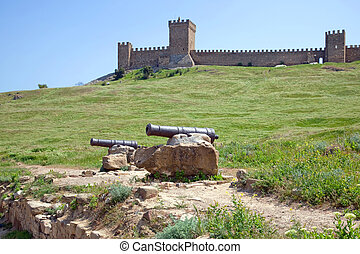Crimea. Sudak. Genoese fortress - An old cannon at the...