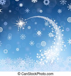 Blue Winter Background. Falling Star. Snowflakes Pattern