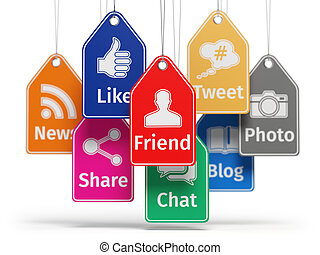 Social media internet communication concept. Signs of apps on the labels.