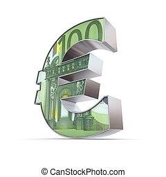 Shiny Euro Symbol - 100 Euro Note - shiny euro symbol in a...