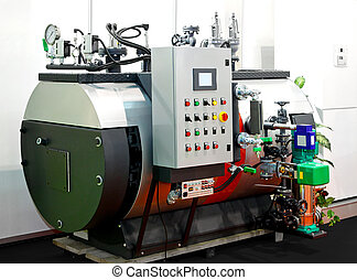 Industrial steam boiler - Close up shot of big industrial...