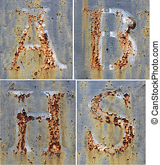 Alphabet Letter A, B, H and S rusty, blue paint - Cracked,...