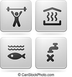 Camping Icons - Various camping icons: Gym room, Sauna,...