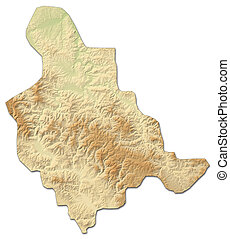 Relief map - Zenica-Doboj (Bosnia and Herzegovina) -...