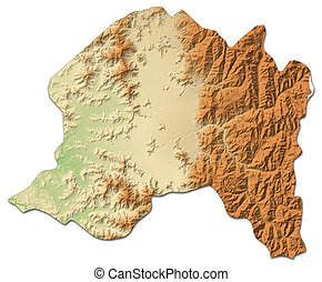Relief map - Metropolitan Region (Chile) - 3D-Rendering