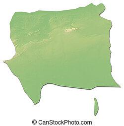 Relief map - Artemisa (Cuba) - 3D-Rendering