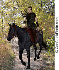 Medieval horseman traveler - 3d render of a handsome armored...