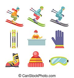 Set of Vector Winter Sport Icons in Flat Design - Set of...