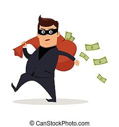 Money Stealing Concept Flat Design Vector - Money stealing...