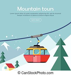 Mountain Tours Concept Banner. Funicular Railway, - Mountain...