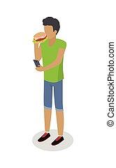 Street Food Buyer Isolated. Man Eats Hot Dog - Street food...