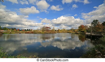 Commonwealth Lake Park with water reflection of white clouds and blue sky in Portland OR