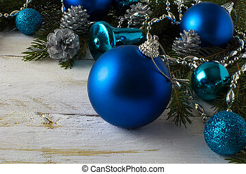 Christmas ornament blue balls, fir branches, silver fir...