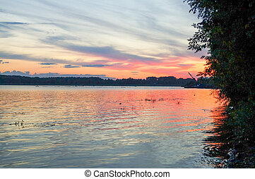 Beautiful sunset on the river - Beautiful red sunset on the...
