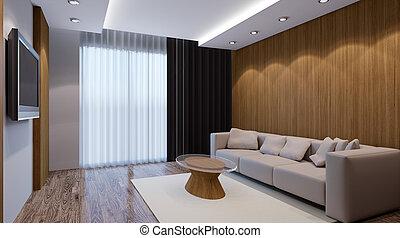 recreation room design. Interior living room. 3d render