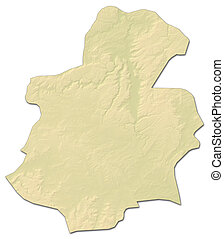 Relief map - Luxembourg (Luxembourg) - 3D-Rendering