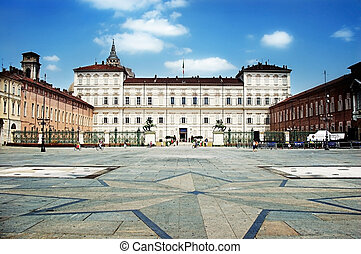 Piazza Castello in turin Italy - View of the Piazza Castello...