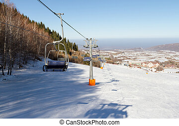 tower chairlift at a ski resort in Kazakhstan