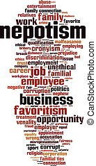 Nepotism-vertical.eps - Nepotism word cloud concept. Vector...