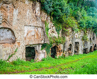 HDR Etruscan tombs in Sutri - High dynamic range (HDR)...