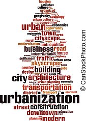 Urbanization-vertical.eps - Urbanization word cloud concept....