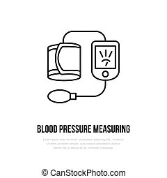 Vector thin line icon of blood pressure measurement. Hospital, clinic linear logo. Outline tonometer symbol, medical equipment. High blood examination. Design element, logotype