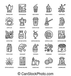 Vector line icons of coffee making equipment. Elements -...