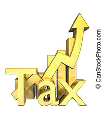 Tax statistics graphic in gold - 3d made