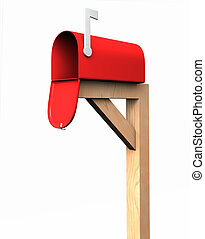 Mailbox, isolated - 3D mailbox upon a wooden support,...