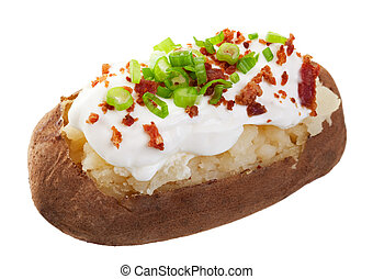 Baked Potato Loaded - A baked potato loaded with sour cream,...
