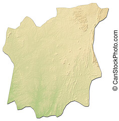 Relief map - Osun (Nigeria) - 3D-Rendering