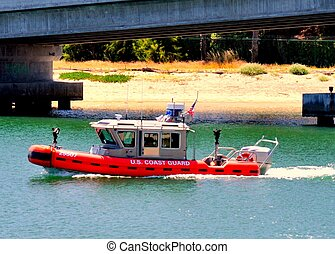 A U.S. Coast Guard RHIB - A USCG Rigged Hull Inflatable Boat...