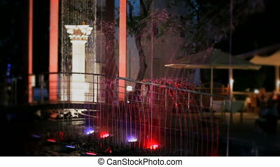 Night multicolored fountain