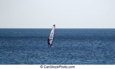 Man windsurfing in a calm sea