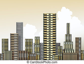 Book city - Editable vector illustration of piles of books...