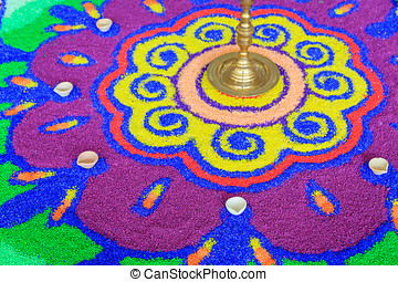 Colorful Rangoli - Close up colorful rangoli, Hindu festival...